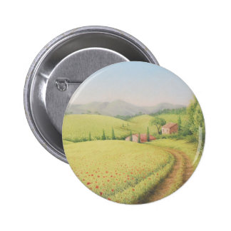 Tuscan Farmhouse, Italy in Pastel Badge Pinback Button