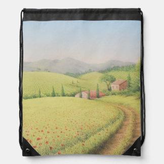 Tuscan Farmhouse, Italy in Pastel Drawstring Bag
