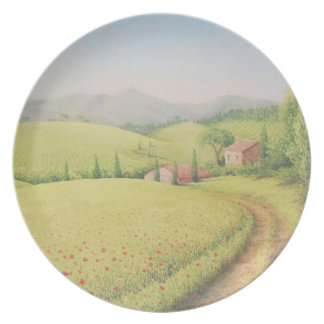 Tuscan Farmhouse, Italy in Pastel Melamine Plate