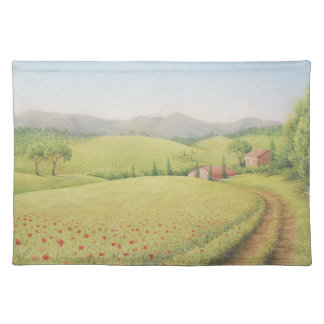 Tuscan Farmhouse, Italy in Pastel Placemat Cloth Placemat
