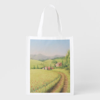 Tuscan Farmhouse, Italy in Pastel Reusable Bag
