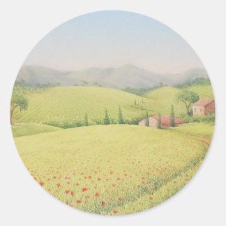 Tuscan Farmhouse, Italy in Pastel Round Sticker