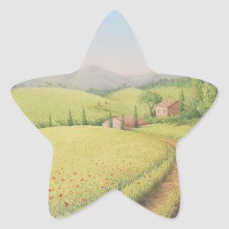Tuscan Farmhouse, Italy in Pastel Stickers