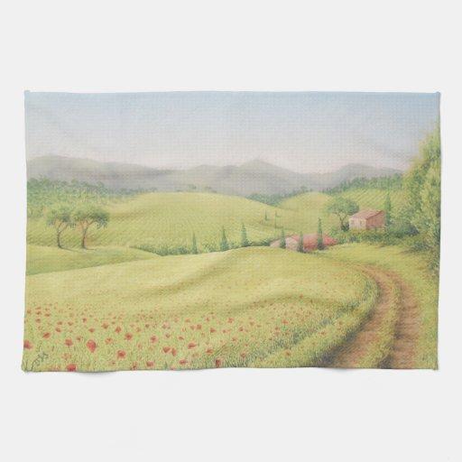 Tuscan Farmhouse, Italy in Pastel Tea Towel