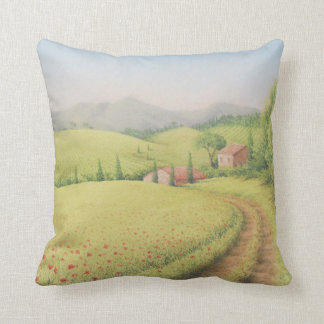 Tuscan Farmhouse, Italy Pastel Polyester Cushion