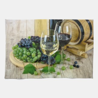 Tuscan Grapes and Wine Kitchen Towel