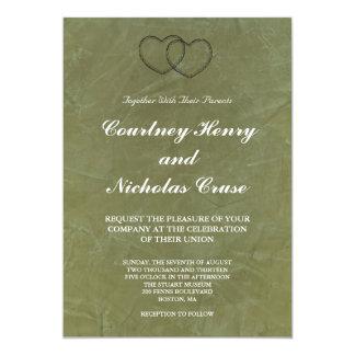 Tuscan Green Hearts Wedding Invitations
