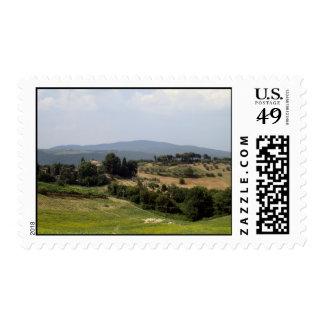 Tuscan Hills Volterra Postage Stamp