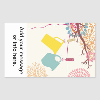 Tuscan-Kitchen - Pitcher on floral. Rectangular Sticker