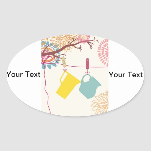 Tuscan-Kitchen - Pitcher on floral. Oval Sticker