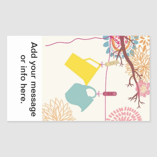 Tuscan-Kitchen - Pitcher on floral. Rectangular Stickers