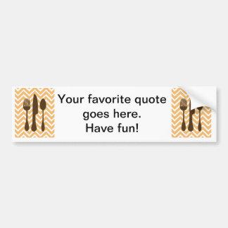 tuscan kitchen - utensils on chevron. bumper sticker