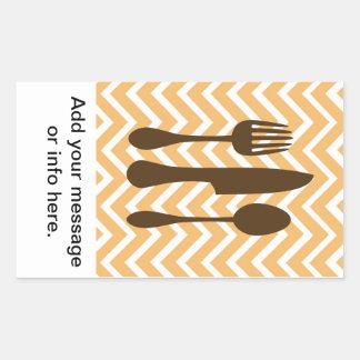 tuscan kitchen - utensils on chevron. rectangular sticker