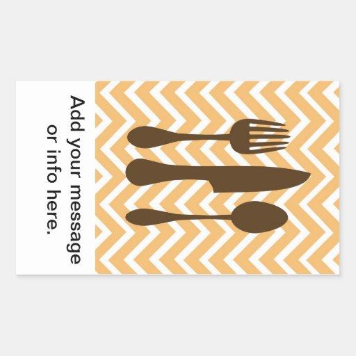 tuscan kitchen - utensils on chevron. rectangular stickers