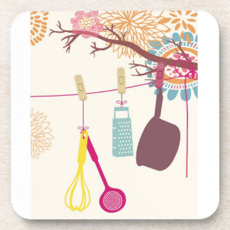tuscan kitchen - Utensils on floral Drink Coasters