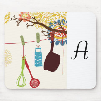 Tuscan Kitchen - Utensils on floral. Mouse Pad