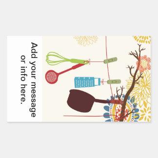 Tuscan Kitchen - Utensils on floral. Rectangular Sticker