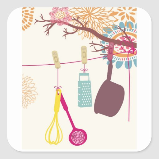 tuscan kitchen - Utensils on floral. Square Stickers