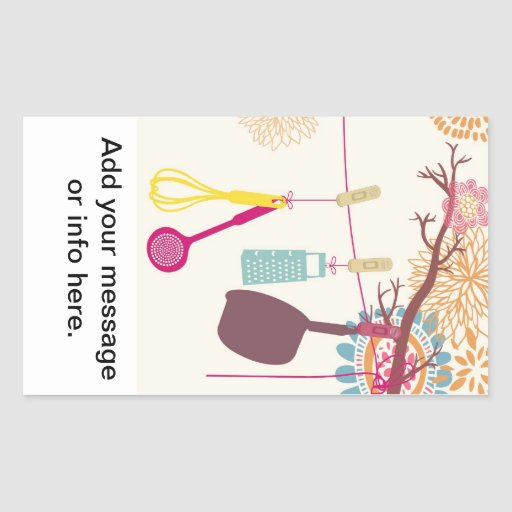 tuscan kitchen - Utensils on floral. Rectangle Sticker
