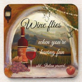 Tuscan Landscape Italian Art Wine Coasters