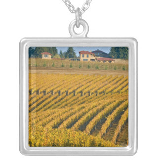 Tuscan-looking Black Walnut Inn above the Square Pendant Necklace