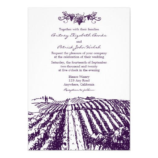 photo wedding invitations tuscan purple winery vineyard wedding invitations zazzle 6500