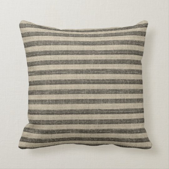 Tuscan Stripe Throw Pillow - black and white