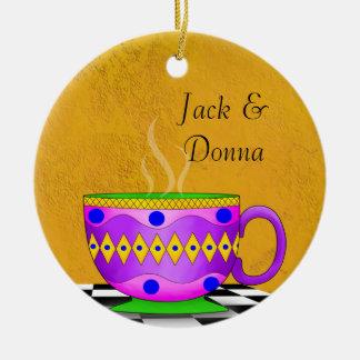 Tuscan Style Cappuccino Coffee Cup Coaster Ceramic Ornament