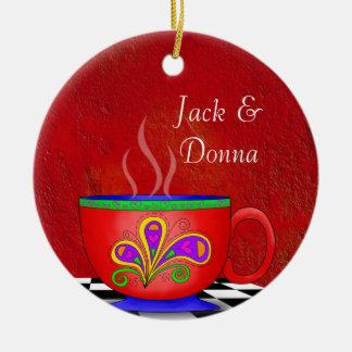 Tuscan Style Java Coffee Cup Coaster Ceramic Ornament