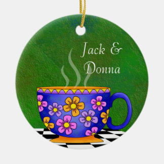 Tuscan Style Latte Coffee Cup Coaster Ceramic Ornament