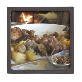 Tuscan typical recipe of baked pork and potatoes gift box