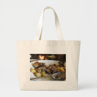 Tuscan typical recipe of baked pork and potatoes large tote bag