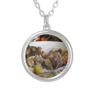 Tuscan typical recipe of baked pork and potatoes silver plated necklace