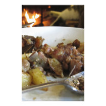 Tuscan typical recipe of baked pork and potatoes stationery