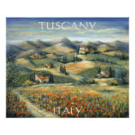 Tuscan Villa And Poppies Poster