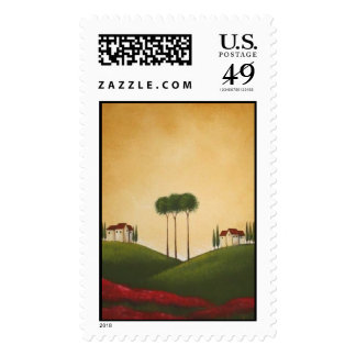 Tuscan Villa and Poppies Stamp
