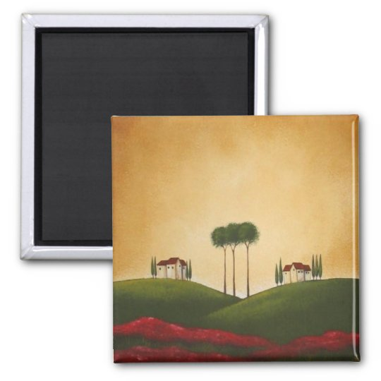 Tuscan Villas and Poppies Magnet