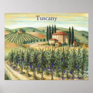 Tuscan Vineyard and Villa Poster