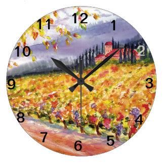 Tuscan Vineyard wall clock