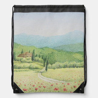 Tuscan Vineyards, Italy in Pastel Drawstring Bag
