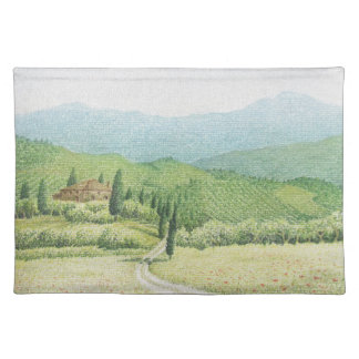 Tuscan Vineyards, Italy in Pastel Placemat Cloth Placemat