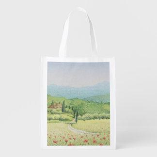 Tuscan Vineyards, Italy in Pastel Reusable Bag