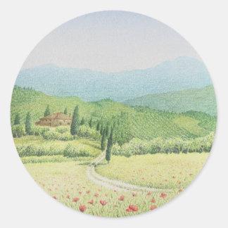 Tuscan Vineyards, Italy in Pastel Round Sticker
