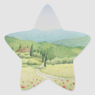 Tuscan Vineyards, Italy in Pastel Stickers