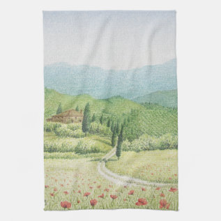 Tuscan Vineyards, Italy In Pastel Tea Towel at Zazzle