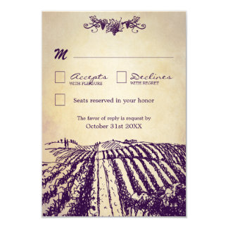 Tuscan Vintage Winery Vineyard Wedding RSVP Cards