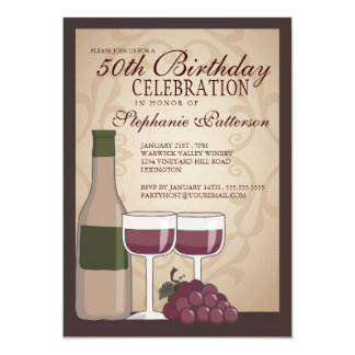 Tuscan Wine Themed Birthday Party Invitation
