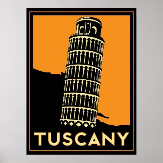 Tuscany art deco retro italy travel poster