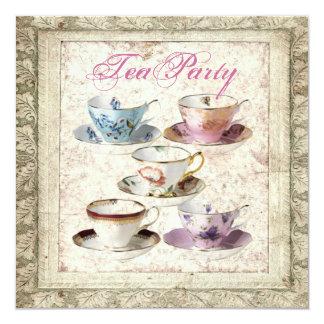 "Tuscany Country Bridal Shower Tea Party Invitation 5.25"" Square Invitation Card"