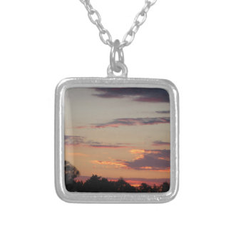 Tuscany countryside sunset silver plated necklace